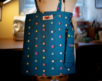 Facemask and Matching Totebag in Vinyl Records Fabric
