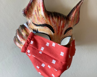 Handmade Washable Face Mask in 'Terracotta Squares' 100% Cotton Fabric.