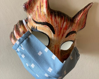 Handmade Washable Face Mask in 'Teal Blue Squares' 100% Cotton Fabric.