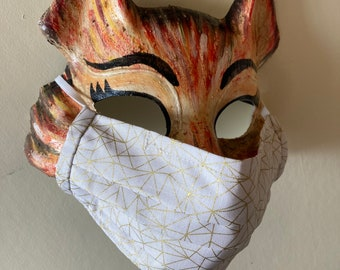 Handmade Washable Face Mask in 'Cream & Gold' 100% Cotton Fabric.