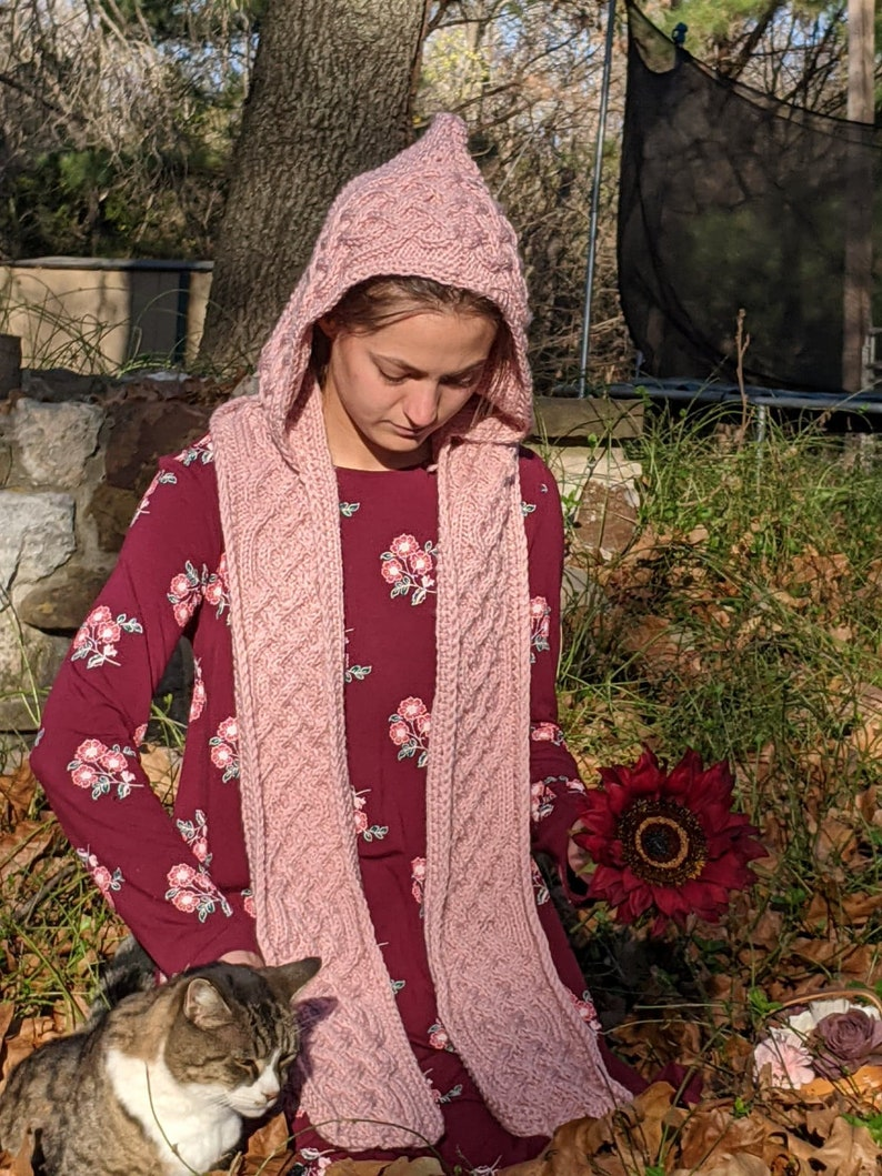 Knitted Hooded Scarf Pink Celtic ScarfScoodie Elf Hood Christmas Scarf