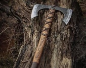 Double Blade Viking Axe | Custom Hand forged steel double blade Viking axe | Rose Wood handle Leather rapping