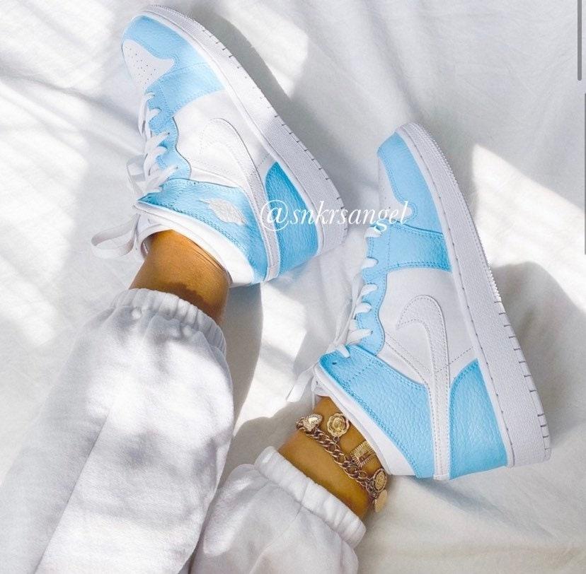 Baby Blue Custom Air Jordan 1 Mid Nike Sneaker