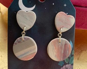 Marble Geode Earrings Pair Polymer Clay Emboss