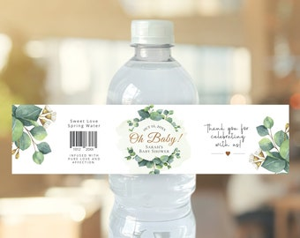 Eucalyptus baby shower water bottle label, editable digital instant download, template G3
