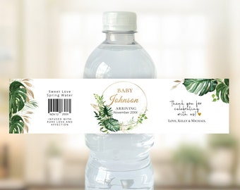 Tropical & Gold themed Baby Shower water bottle label, editable digital instant download, template TG1 TG2