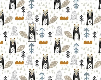 100% Cotton fabric  woodland - beavers print fabric