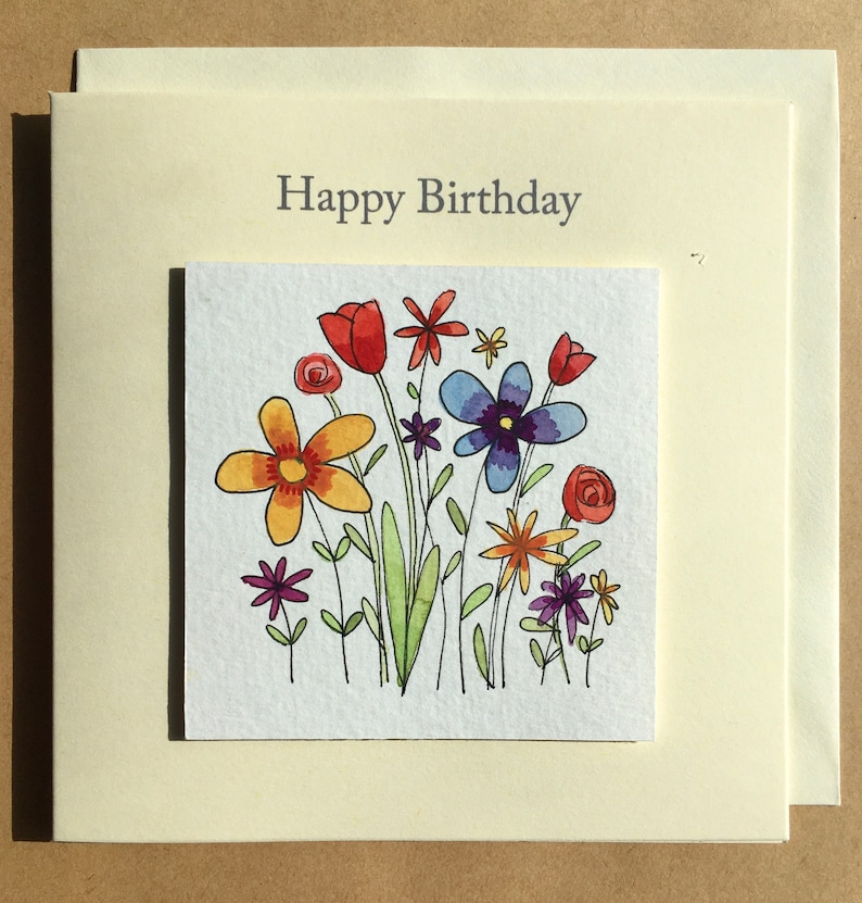 hand drawn and painted birthday card Handmade card one of a kind greeting card original card individually painted card flowers card