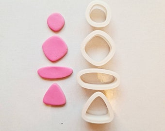 Organic Set of 4 Cutters Polymer Clay Cutter- Eco-Friendly
