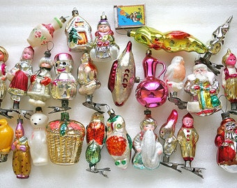 Retro Christmas Decor Glass Baubles Ornaments Decorations set of 3 1960s from Russia Soviet Union