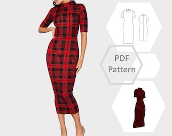 Midi bodycon short sleeve dress   Kristen dress pattern   Size 6 - 34   PDF printable sewing pattern   Instant Download