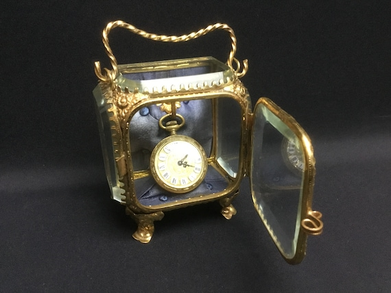 French Pocket Watch Cabinet with facet cut diamond