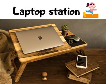 Laptop table adjustable, Working from home, Personalized gift, Portable folding laptop desk, Bed table, Working in bed sofa, Laptop table