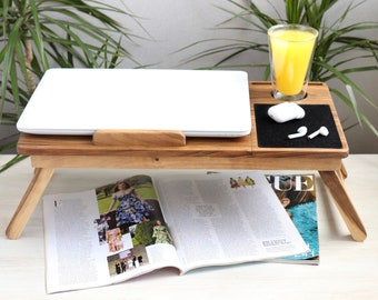 Adjustable Laptop Table In Bed Wooden Laptop Desk For Sofa Personalized Wood Working Lapdesk Custom Laptop Station Home Laptop Standing Desk