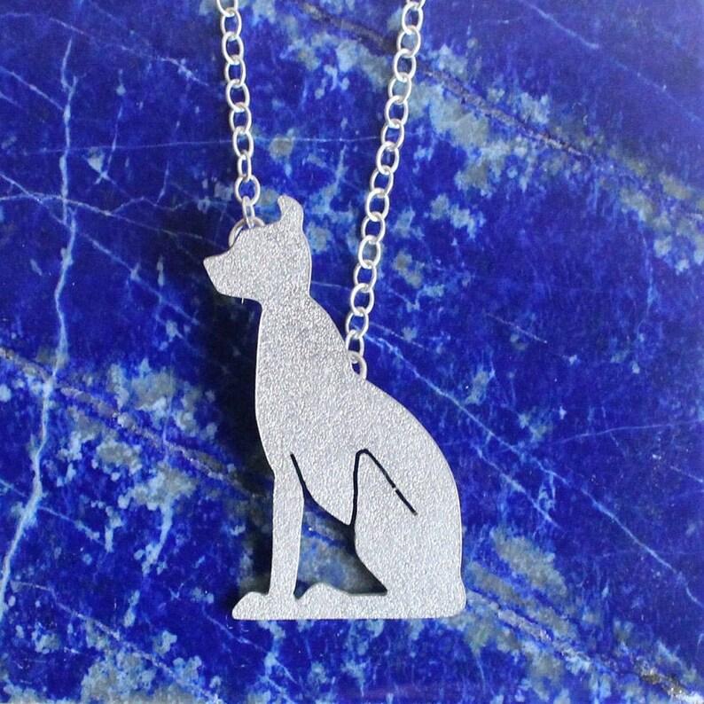Sterling silver Bastet amulet Ancient Egyptian Cat hieroglyph Pendant