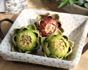 Vivid Artificial Artichoke, Faux Vegetables / Fruit, Table Centerpiece, Green / Brown, Housewarming, Gift Set, Kitchen / Home Decor