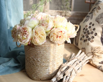 Silk Champagne Peony Flower Bouquet / Bundle 13'' Tall, Artificial Flower, Floral Arrangement, Centerpiece, Wedding Decor, Bridal Flower