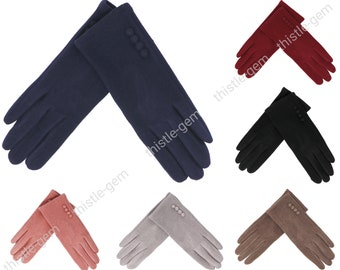 Women Button Gloves / gift for her / touch screen gloves