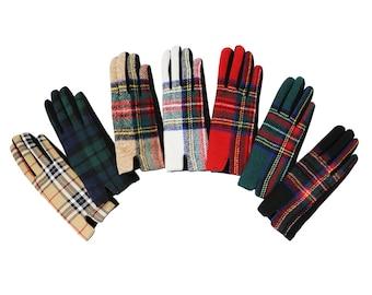 Touch Screen Tartan Gloves -  Winter Warm Fashion Women Gloves