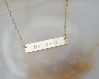 BELIEVER Necklace • Engraved Necklace in Sterling Silver, Gold Filled, Rose Gold Filled • Good Vibes Necklace • Inspirational Necklace Gift