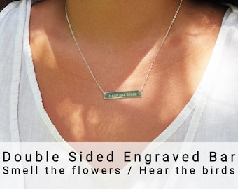 """Reversible Necklace """"Smell The Flowers / Hear The Birds"""" • Double Sided Necklace in Sterling Silver, Gold Filled Or Rose Gold Filled"""