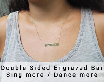 """Reversible Necklace """"Dance More / Smile More"""" Available in Sterling Silver, Gold Filled Or Rose Gold Filled • Double Sided Necklace • Gift"""
