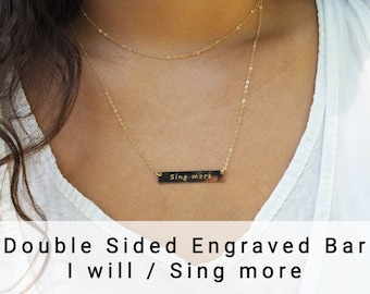 I WILL / SING MORE Reversible Necklace • Double Sided Necklace in Sterling Silver, Gold Filled, Rose Gold Filled • Secret Message Necklace