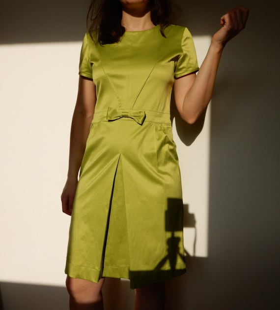 Bright Lime Green Dress - Size S