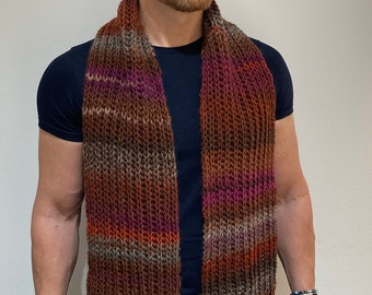 Chunky scarf men's colorful. Winter scarf hand knitted ladies striped. Knitted wool scarf unisex. Knitted scarf brown orange bordeaux