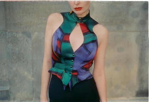 THIERRY MUGLER Vintage Multi-colour Silk Waistcoat