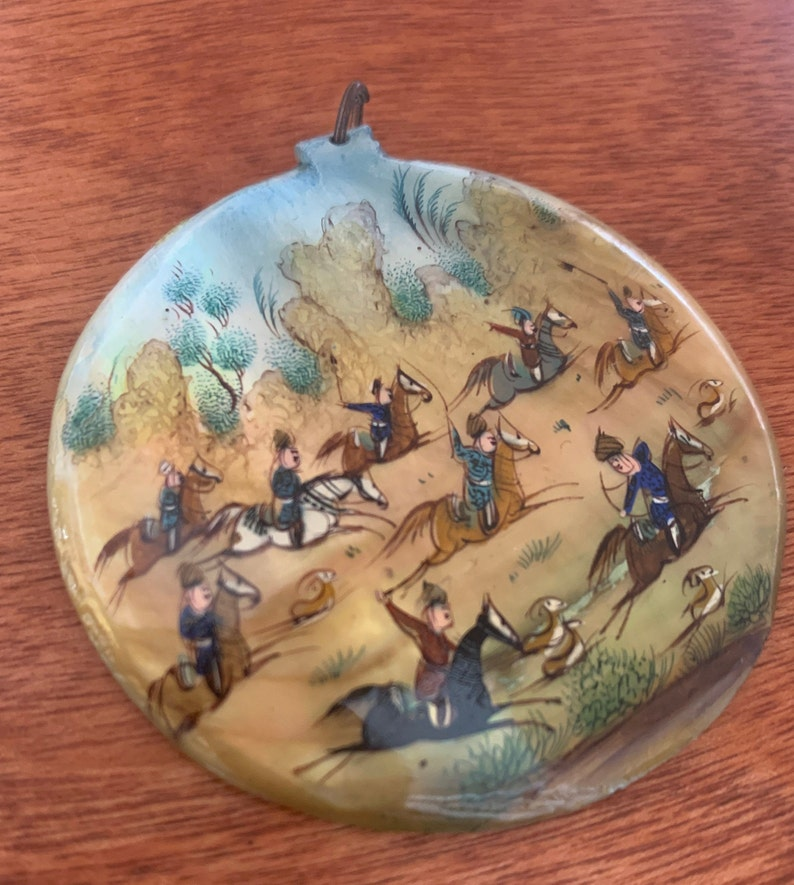 Antique hand painted Persian mother of pearl pendant hunting scene