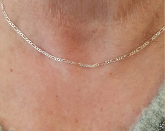 1 metre serpentine chain fine brass 0.6 mm silver colour.
