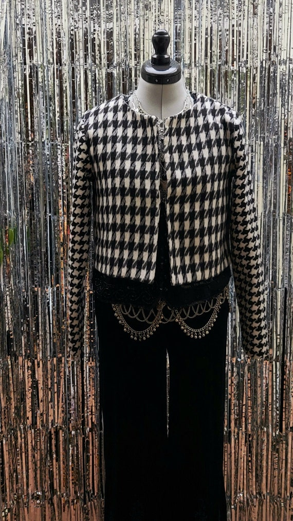 Vintage dogtooth jacket - white and black classic