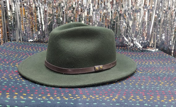 Western Green Wool Felt Cowboy Hat with Leather Ba