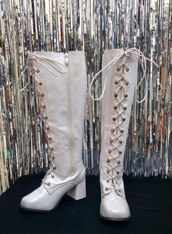 White patent leather lace up go go boots - knee hi