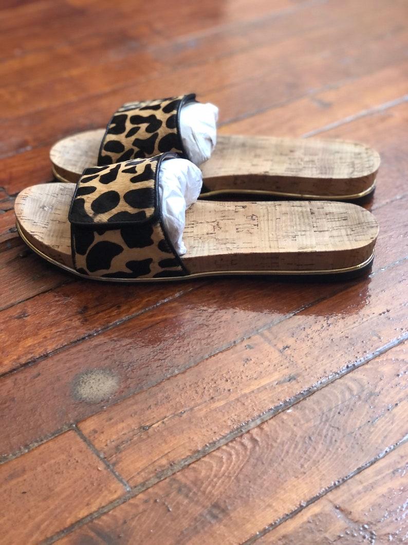 pony hair Cheetah print Nicole Miller Slides