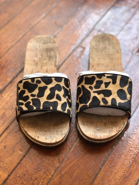 Cheetah print (pony hair) Nicole Miller Slides