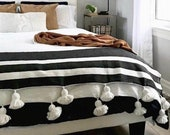 Black White Moroccan Tassel Pompom Bedspread, Hand Woven Bed Cover by Berber Artisans on Wooden Looms, Cozy Blanket, Bohemian Cotton Throw