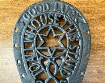 Horseshoe trivet with steel legs Great Gift for Her! ~Campfire or fire pit cooking~ Hand Forged Great Gift for Him