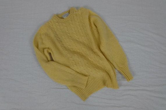 Vintage Bloomingdales lemon yellow wool pullover f