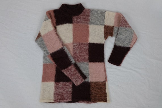 Vintage pink tone patchwork colorblock mohair wool