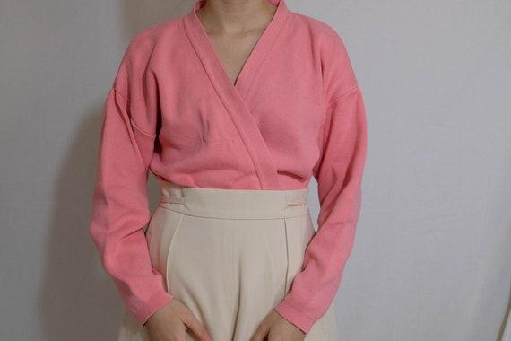 90s neon pink oversized cotton cardigan