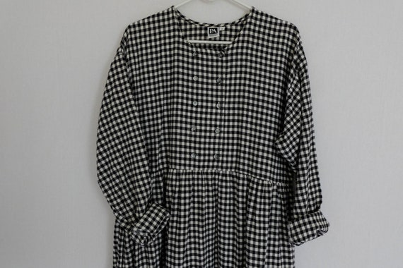 80s black and white gingham check cotton oversized