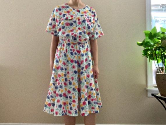 Vtg Dress Vintage Floral Dress 80/'s Vintage Flower Printed Dress