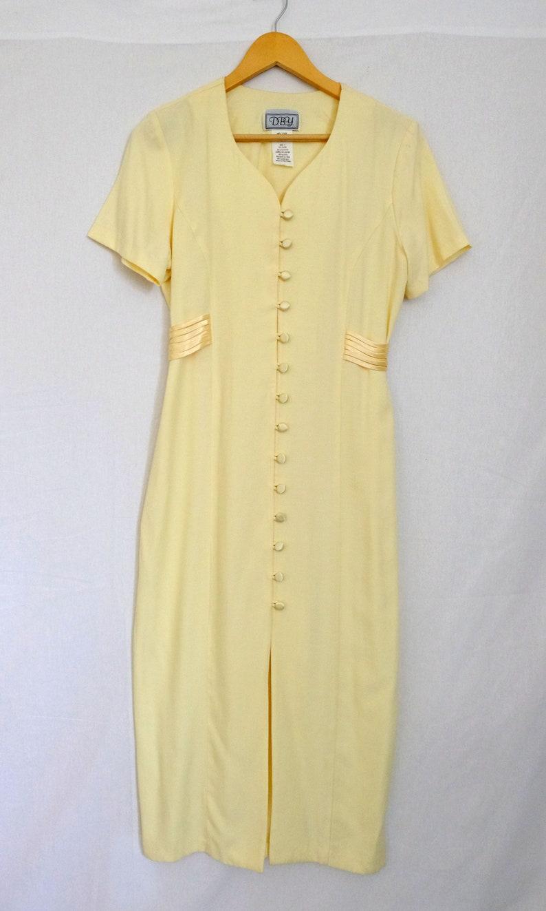 1980s vtg light yellow short sleeve long maxi dress