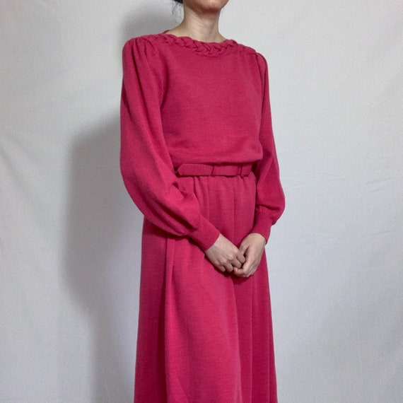 70s vintage fuchsia magenta pink pure wool knit dr