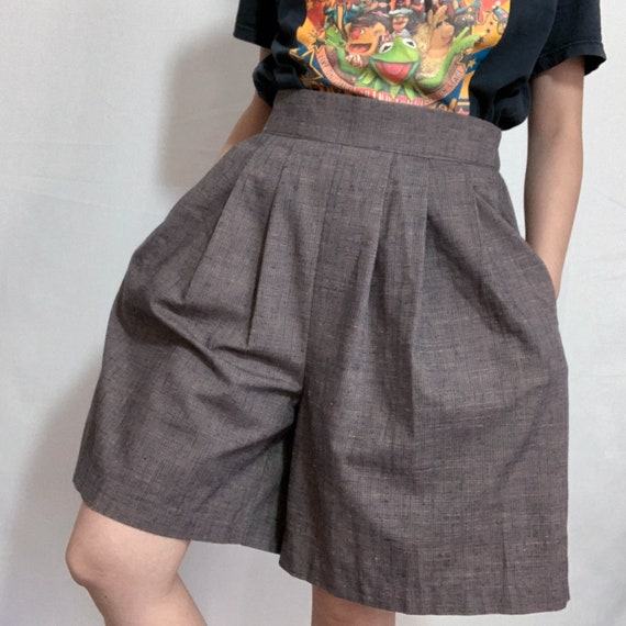 70s brown cotton blend bermuda shorts size small