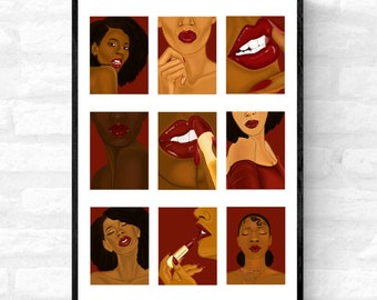 A Love For Red- Black woman art, Red lipstick wall art, Sensual woman wall art, Black woman makeup art, Afrocentric art, Black female poster