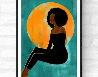 Feeling Peaceful- Afrocentric art, Boho black woman art, Afro woman art print, Afro woman wall art, Black female poster, Afrocentric décor