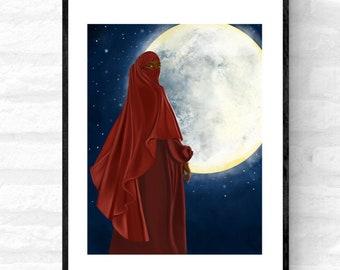 Ya Amar • Muslimah wall art, Black Muslim woman wall art, black woman wall art, afro woman art print, niqabi woman, hijab woman art